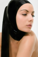 latex open face hood with ponytail opening