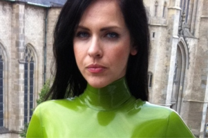 latex catsuit with high collar
